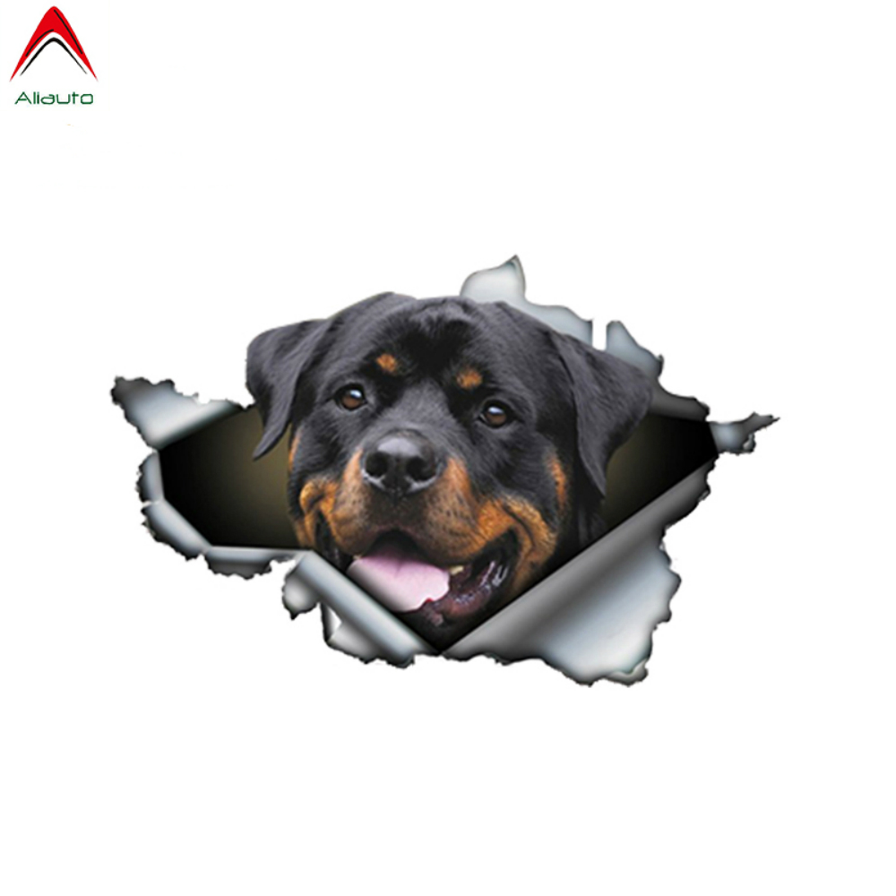 Aliauto Pet Dog Car Sticker Funny Rottweiler 3D Rott Torn Metal Automobiles Motorcycles Waterproof Vinyl Decal,13cm X 8.5cm