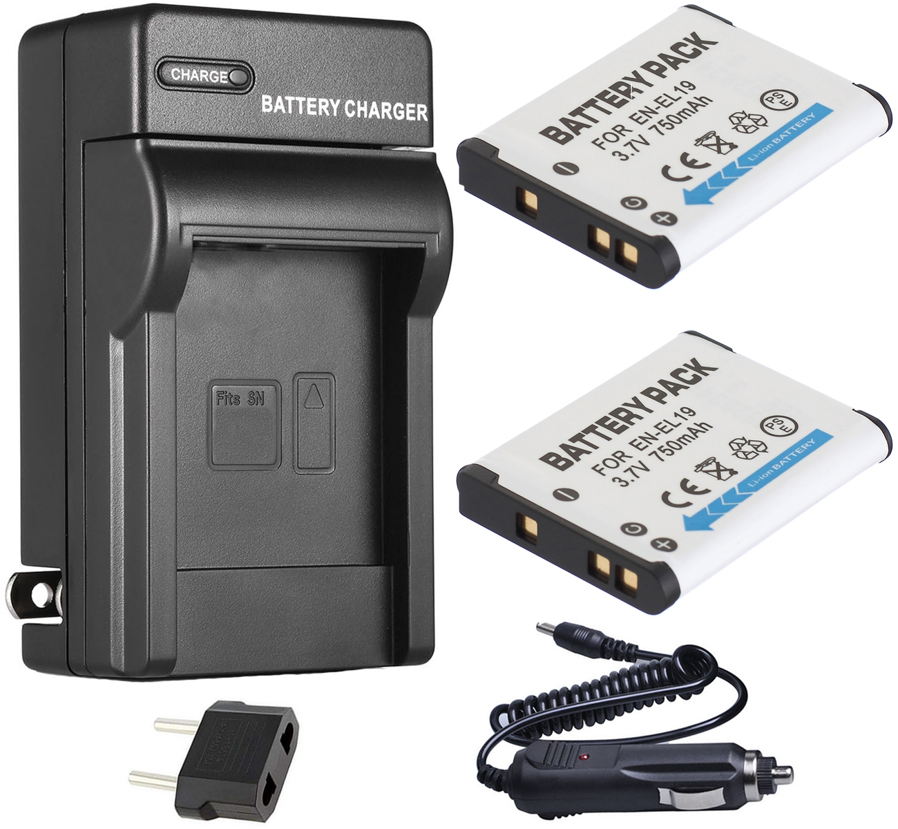 EN-EL19 Battery 2-Pack + Charger For Nikon Coolpix S3100, S3200, S3300, S3400, S3500, S3600, S3700, S6800, S6900 Digital Camera image
