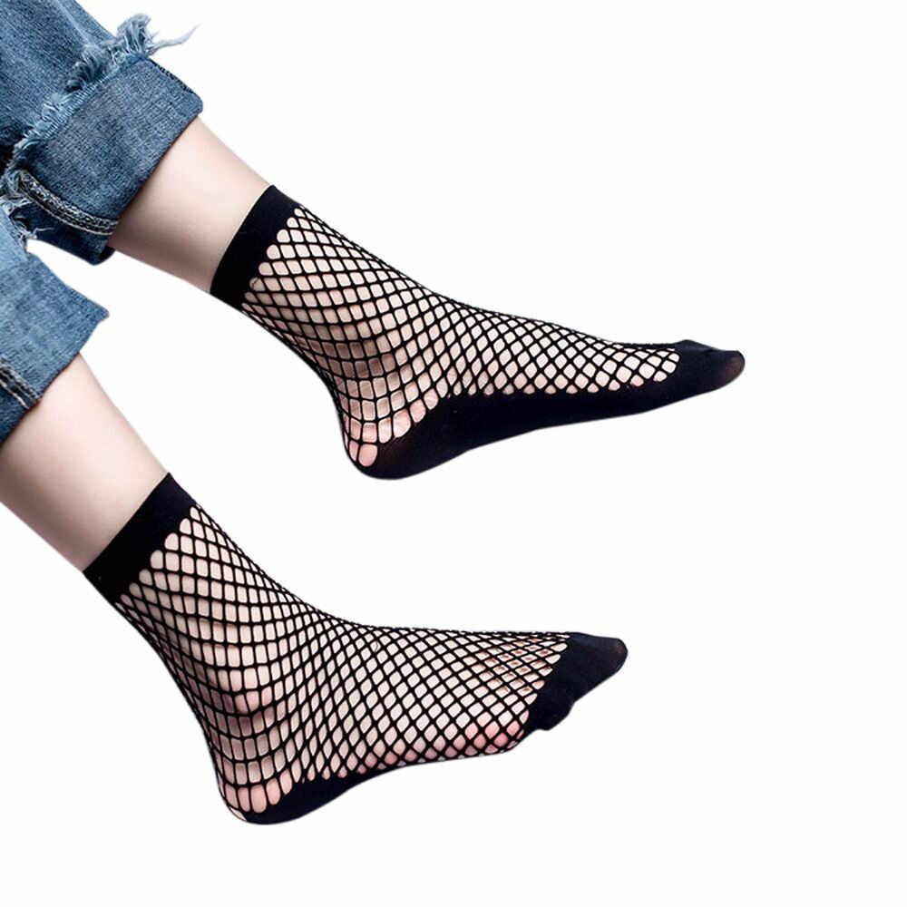 Stijlvolle Vrouwen Sokken Sexy Kant Visnet Netto Plain Top-Ankle Korte Sokken Lente Mode Holle Mesh Mid Kous Sokken носки # S