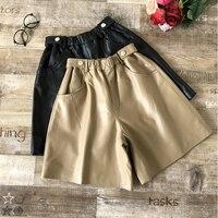 2019 Autumn winter women high quality sheepskin genuine leather pants Fashion high waist wide leg real leather short pants B233