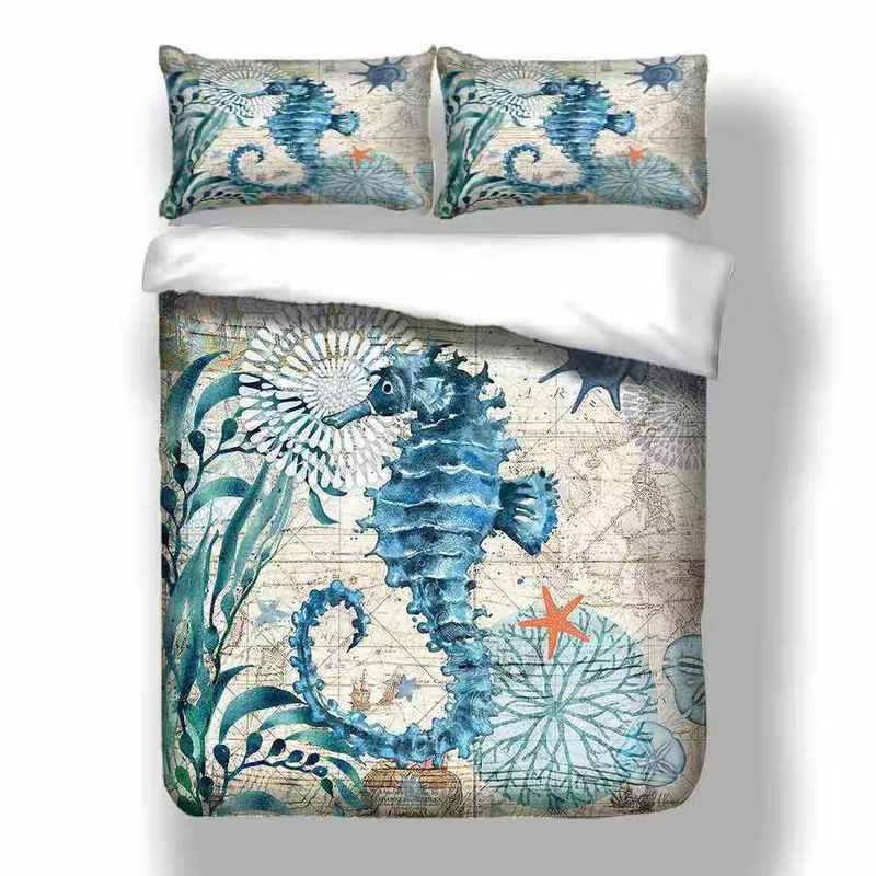 3D Digital OCTOPUS Home Textile   Sea Horse Dolphin Bedding Sets King Queen Whale Turtle Duvet Cover Quilt Cover Pillowcase