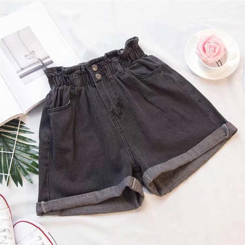 Bolsos Botão Babados Mulheres Shorts Jeans Plus Size Cintura Alta Elástico Feminino Bottoms Verão Sólidos Casual Lady Hot Roupa