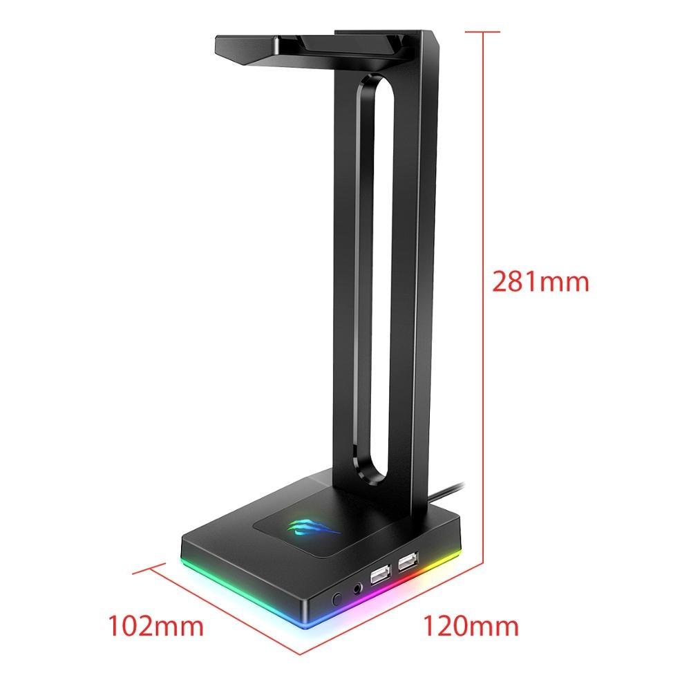 Havit TH630 RGB ausinių stovas su 3,5 mm AUX ir 2 USB jungtimis, - Nešiojami garso ir vaizdo įrašai - Nuotrauka 6