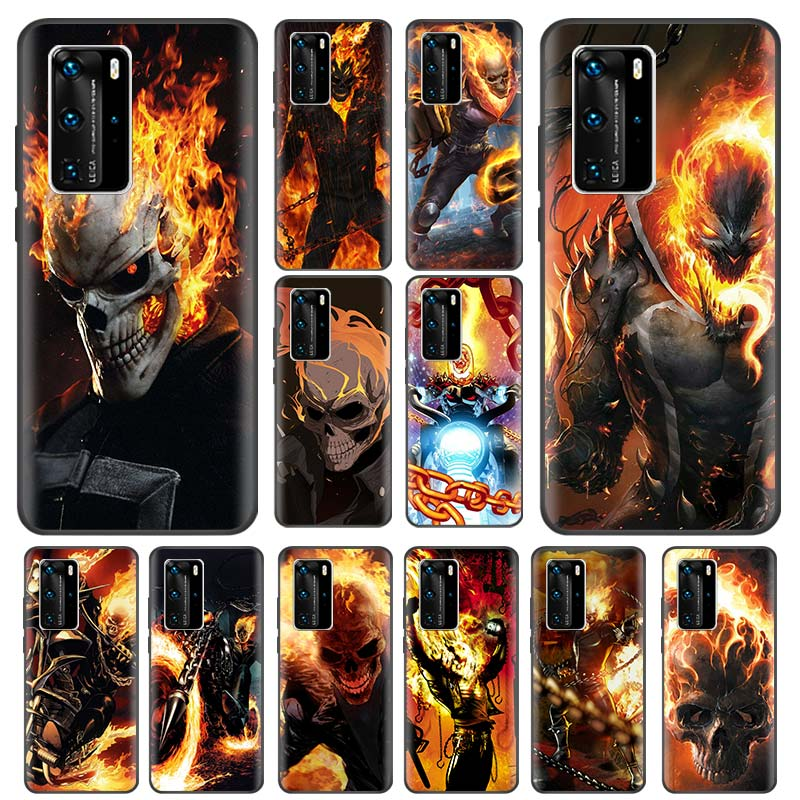 <font><b>Ghost</b></font> Rider Marvel <font><b>Case</b></font> for Huawei P20 Pro P40 Lite E P30 P Smart Plus Z 2019 Capas Black Silicone Phone Coque <font><b>Shell</b></font> image