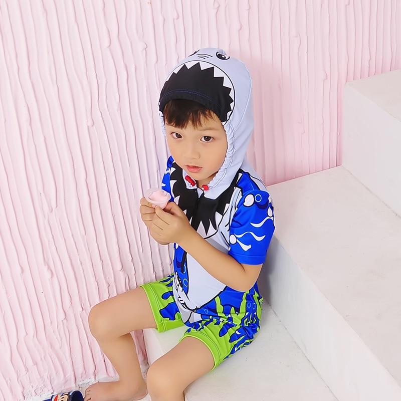KID'S Swimwear BOY'S Children One-piece Short Sleeve Beach Full Body Quick-Dry Cartoon Cute Hooded Bathing Suit Fashion