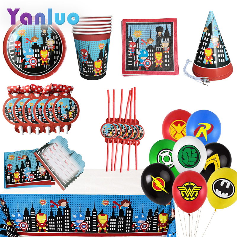 Superhero Superman Party Disposable Tableware Plate Cup Tablecloth Kids Birthday Party Baby Shower Decorations Supplies
