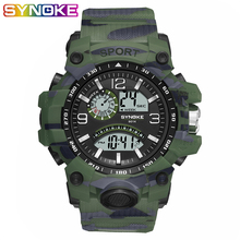 SYNOKE Military Men Sport Digital Watches Waterproof Watch Man LED Dual Movement Camouflage Electronics Wristwatches