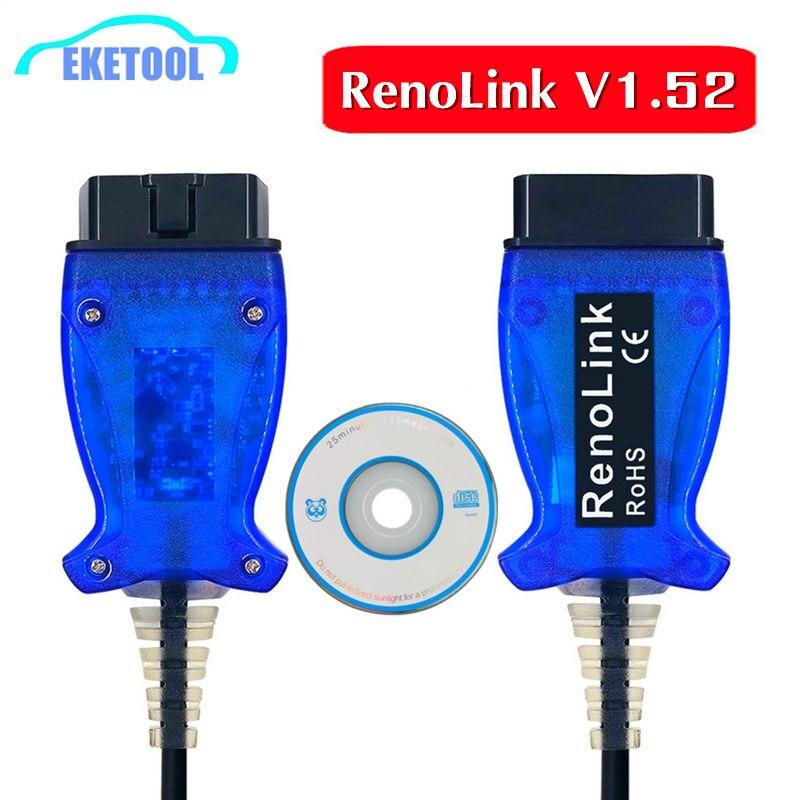 Professional ECU Programmer For Renault OBD2 V1.52 RenoLink USB Diagnostic Scanner RenoLink 1.52 In Stock