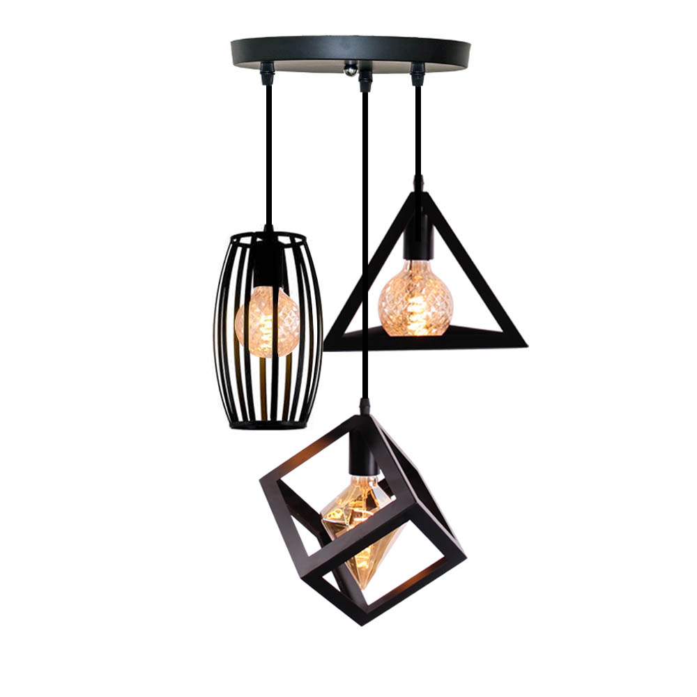 Nordic Pendant Lights Industrial Vintage Lamp Iron Art Loft Cage Black Hanging Lighting Kitchen Living Room For E27 E26 LED Bulb