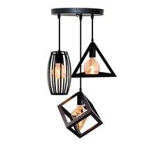 Nórdica colgante luces vintage industrial lámpara arte del hierro Loft jaula colgante iluminación de techo cocina sala para E27 bombilla LED