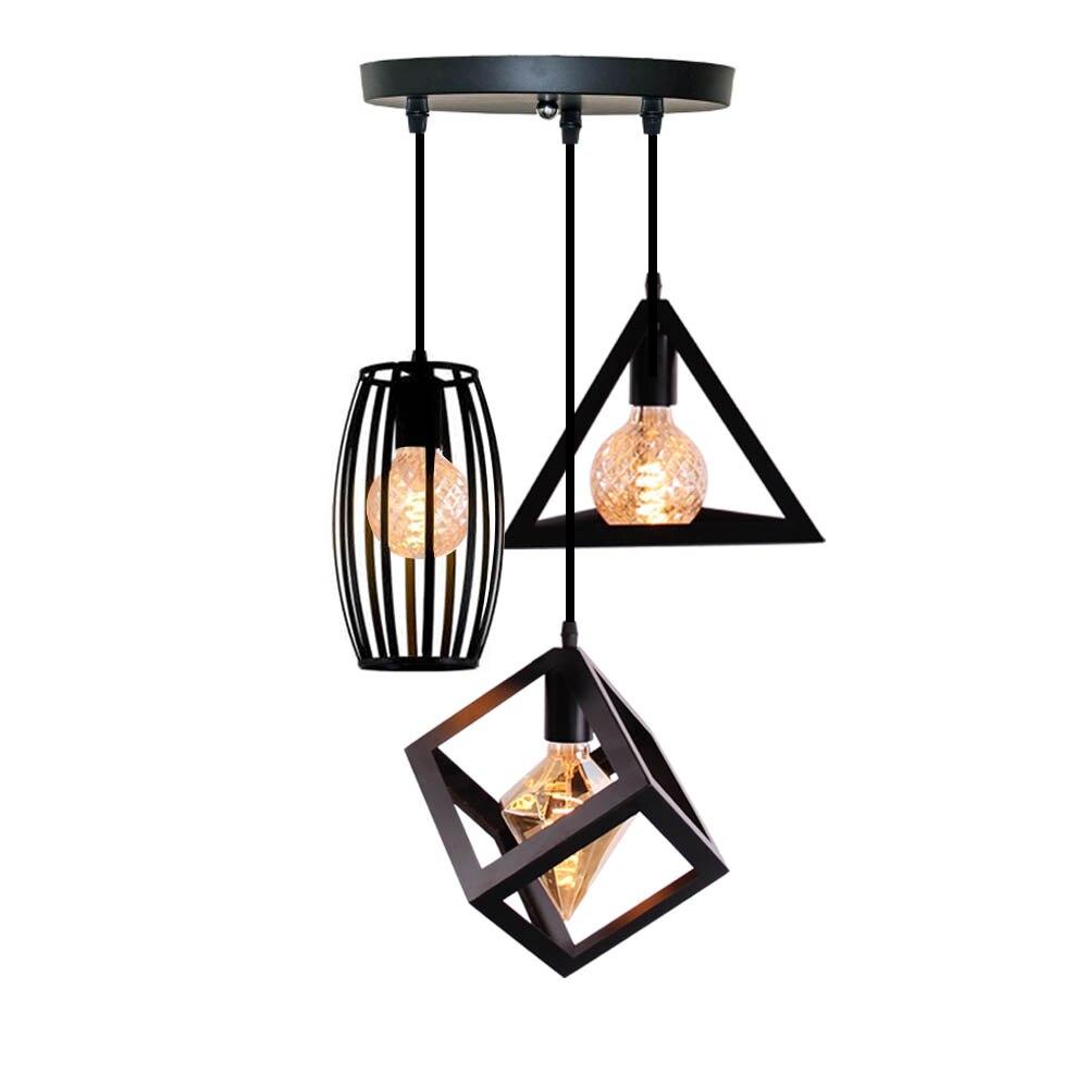 Nordic luz colgante Industrial moderna Vintage de hierro arte minimalista Loft de la jaula de la lámpara de techo adecuado para E26 E27 bombilla LED