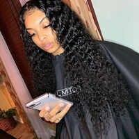 Perruque bouclée partie profonde 13x6 avant de lacet perruques de cheveux humains perruques de dentelle transparente perruques avant de lacet péruvien preplumé cheveux naturels Remy