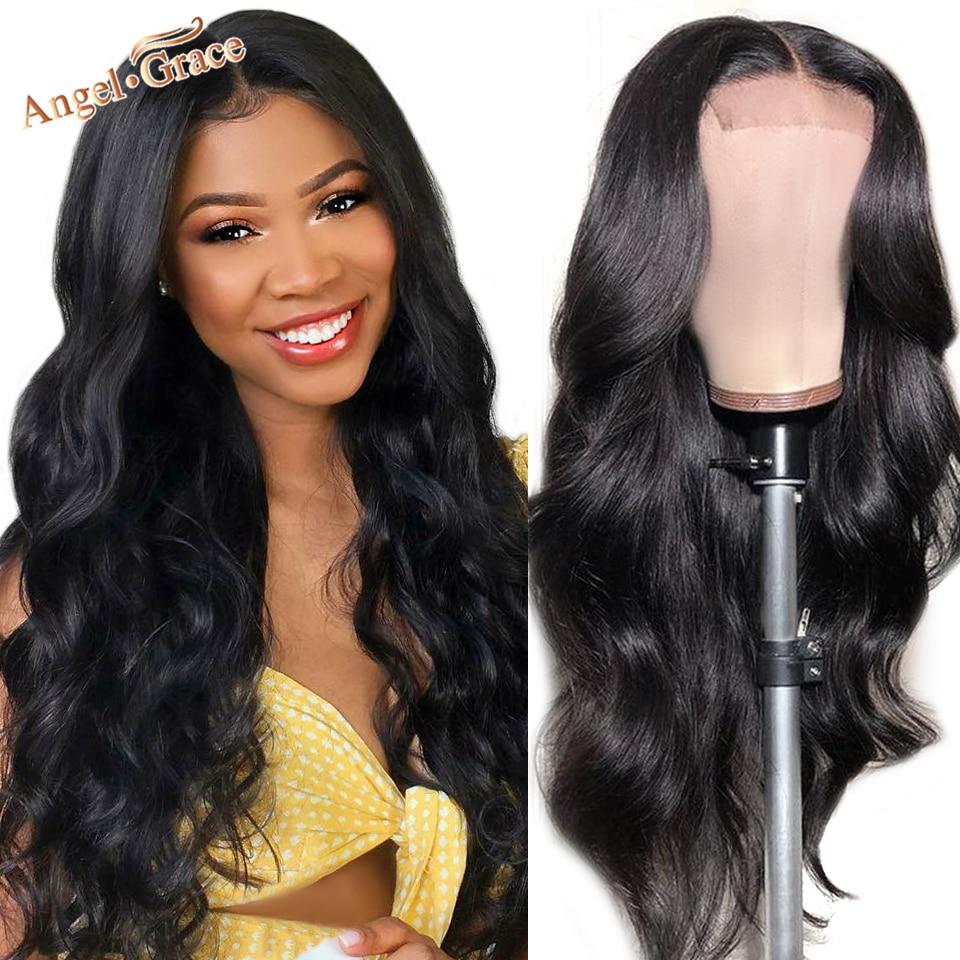 Anjo graça 4x4 laço encerramento peruca brasileira onda do corpo do laço frente perucas de cabelo humano para as mulheres encerramento peruca pré arrancado com cabelo do bebê