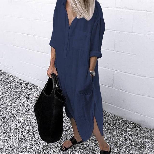 2021 Lady Elegant Long Shirt Dress Fashion Spring/Autumn Long Sleeve Casual Simple Pure Color S-4XL Women Dress 4