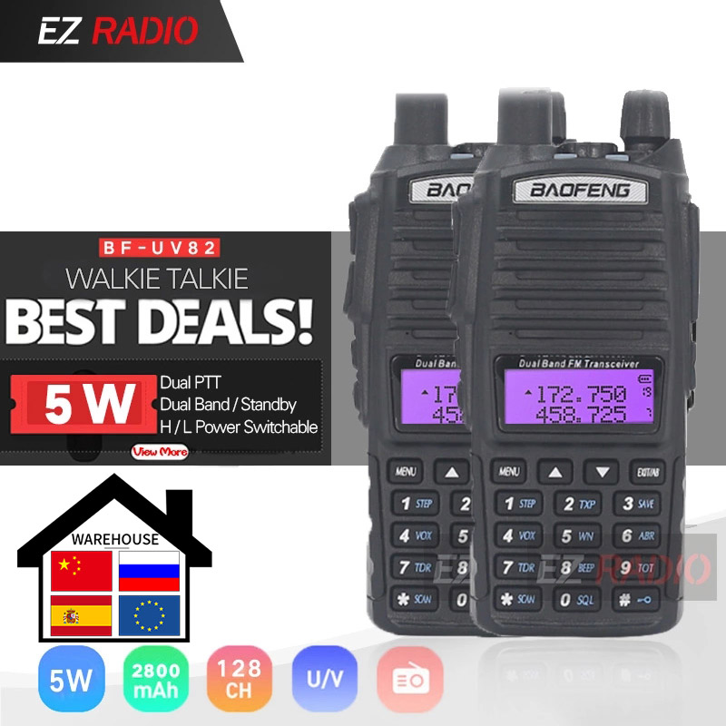 1pc Or 2pcs Original Portable Two Way Radio UV 82 Dual PTT Radio BaoFeng UV-82 Dual-Band Two Way Radio Transceiver + 771 Antenna