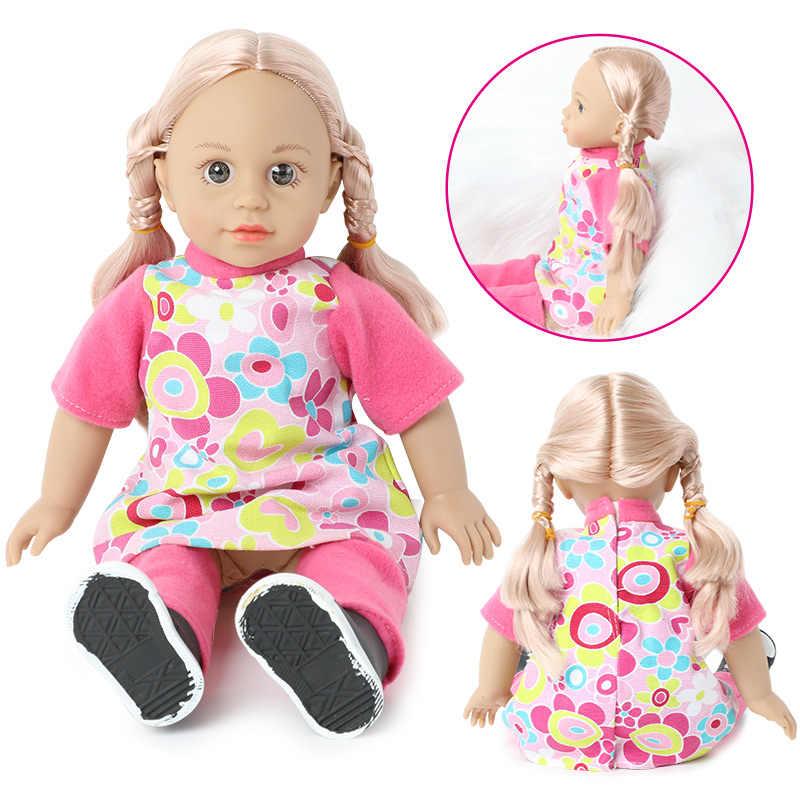 18 zoll lebensechte Bebe reborn puppe ton DIY Spielzeug 46cm Simulation weichen Silikon Kleidung rock lange haar Baby Puppe für Spielzeug mädchen