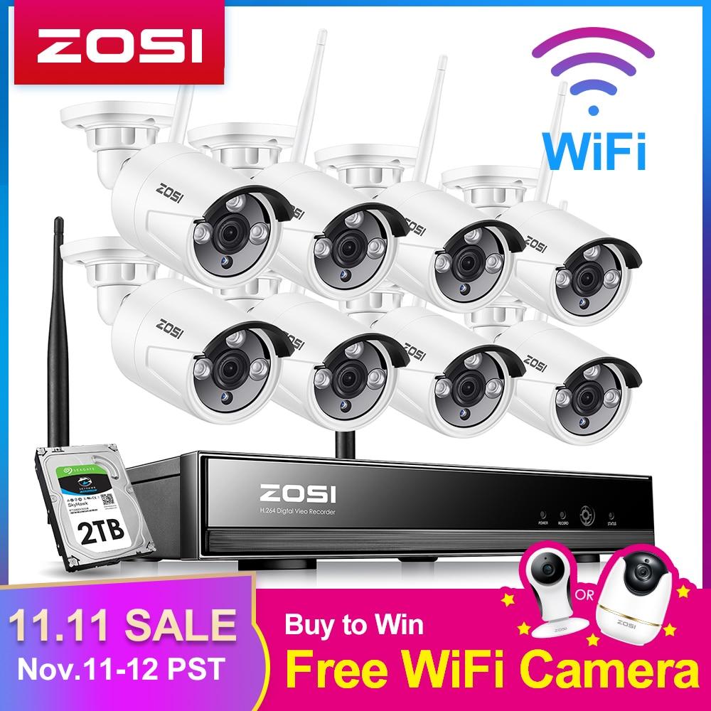 Zosi 8ch sistema de cctv sem fio 1080 p nvr 8 pçs 1.3mp ir ao ar livre p2p wifi ip cctv sistema câmera segurança kit vigilância vídeo
