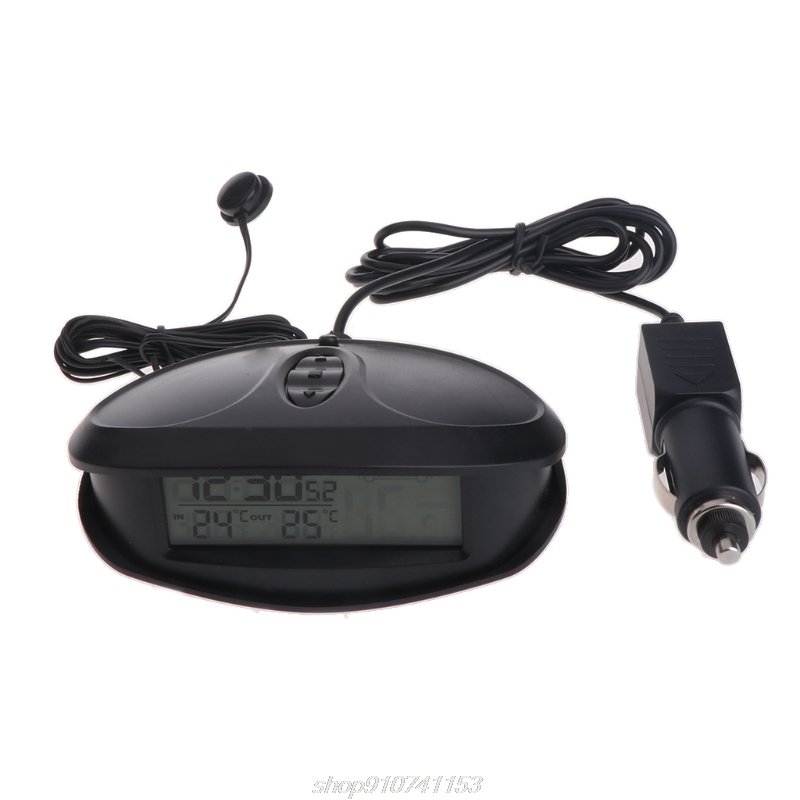 Digital Car In & Outdoor Thermometer Voltmeter Time Clock  Alarm Backlight EC98  D14 20 Dropshipping