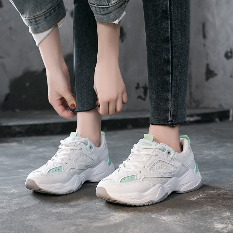 Spring Women Chunky Sneakers Ulzzang Fashion Tenis Female Lace Up Mesh Running Casual Shoes Woman Platform Vulcanized Shoes 2020