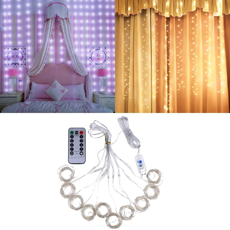 100 LEDs USB Curtain String Light Brass Wire LED 8 Modes Holiday Home Decor 831F