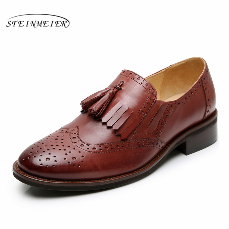 Yinzo Mujer Zapatos Oxford de cuero genuino zapatos de mujer Zapatillas señora Brogues Vintage zapatos casuales zapatos para mujer azul marrón 2019-in Zapatos planos de mujer from zapatos    1