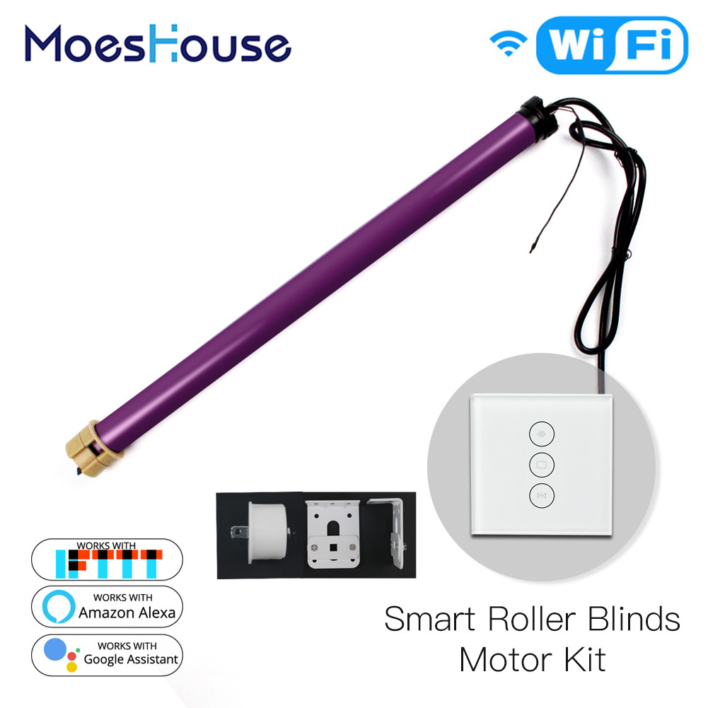 Motorized Electric Smart Tubular Roller Shade Blinds  Motor 4 Wires Smart Life App Remote Control Works With Alexa Google Home