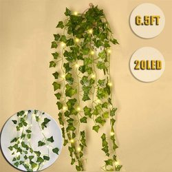 1pc 2.3m green silk artificial Hanging ivy leaf garland plants vine with light leaves diy For Home Decoration Garden Party Decor