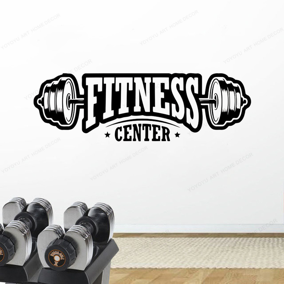 Fitness Center Wall Decal Workout Gym Vinyl Sticker Healthy Lifestyle Home Decor