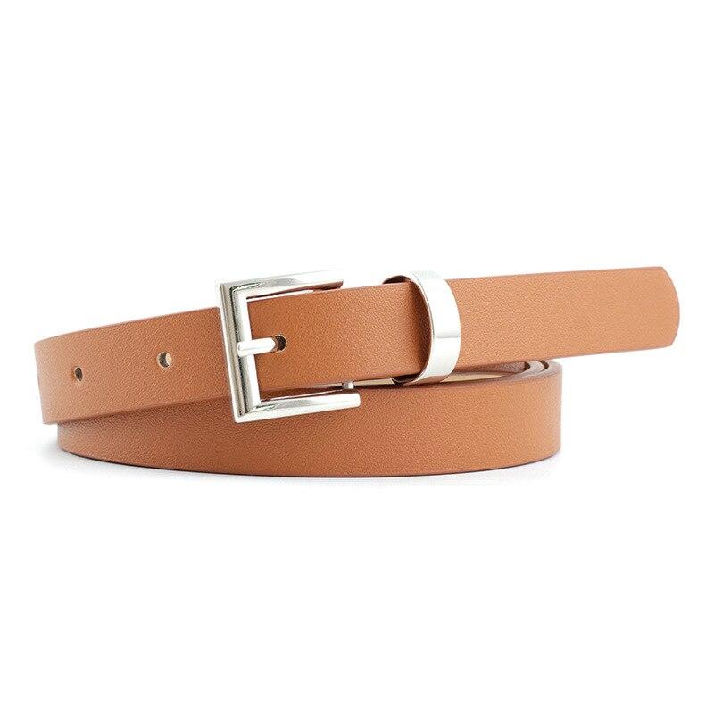 2020 New Designer Women's Narrow Thin Black Brown White Pink Leather Waist Belt Female Vintage Pin Buckle Belts for Women Dress