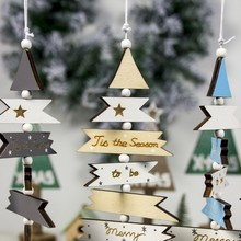 3D Wood Sign Christmas Tree Pendant Drop Ornament Xmas Party Holiday Hanging Dec