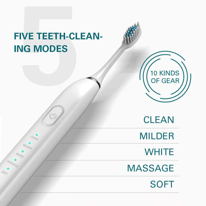 Electric Toothbrush IPX7 Rechargeable Toothbrush 5 Modes Toothbrush with 5 Brush Head (White)