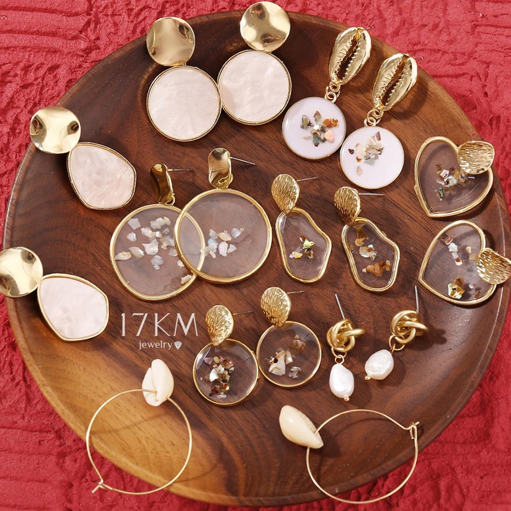 17KM Vintage Earrings 2019 Geometric Shell Earrings For Women Girls BOHO Resin Drop Earrings Brincos Fashion Tortoise Jewelry
