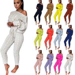 2020 Fall Knitted Slim Fashion Long Sleeve Women Casual Solid Color Pullover Two Piece Sweater Set women
