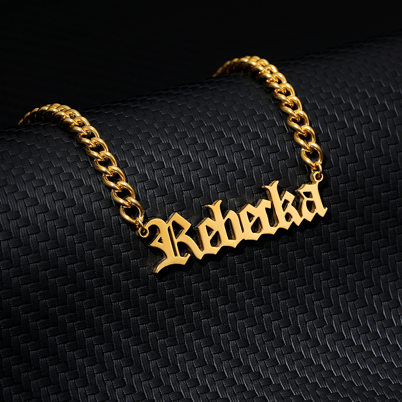 Custom Name Letter Necklace Silver Gold Chain Stainless Steel Personalized Customized Cuban Chain Necklace Best Gift For Him