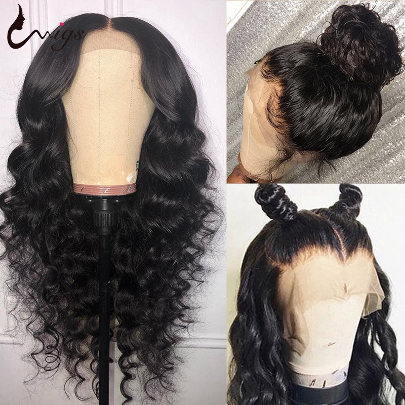 Uwigs 4x4 Lace Closure Wig Transparent Remy Human Hair Wigs Pre Plucked 8-26 Inch Brazilian Loose Deep Wig Bleached Knots