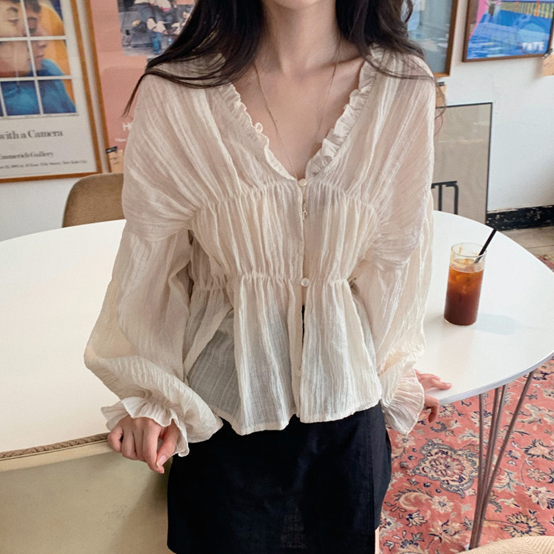2019 Atumn New Fashion Korean Women Tops and Blouses Women Vintage Casual Solid Color V-Neck Fold Shirts A90