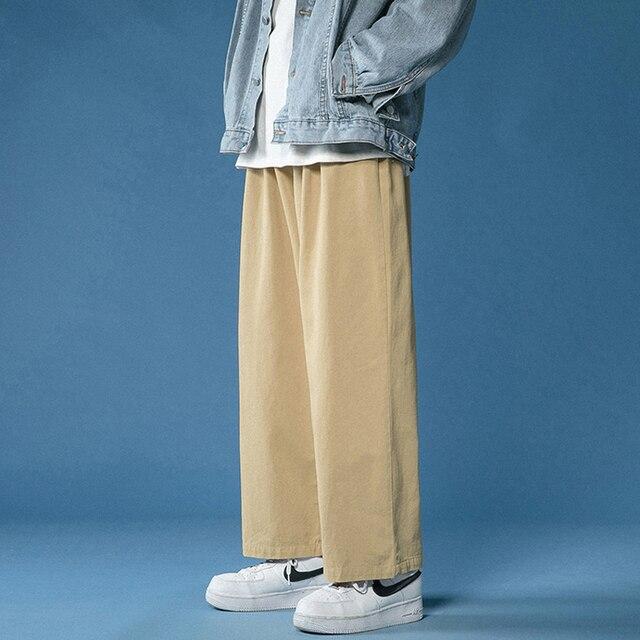 Legible 2021 Women Pant Casual Cotton Wide Leg Pants Retro Ankle Length Elastic Waist Loose Trousers Female 5