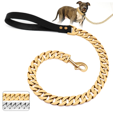 32mm Durable Stainless Steel Dog Chain Leash Collar Strong Pet Dog Gold Silver Chain Lead For Medium Large Dogs Bulldog Pitbull