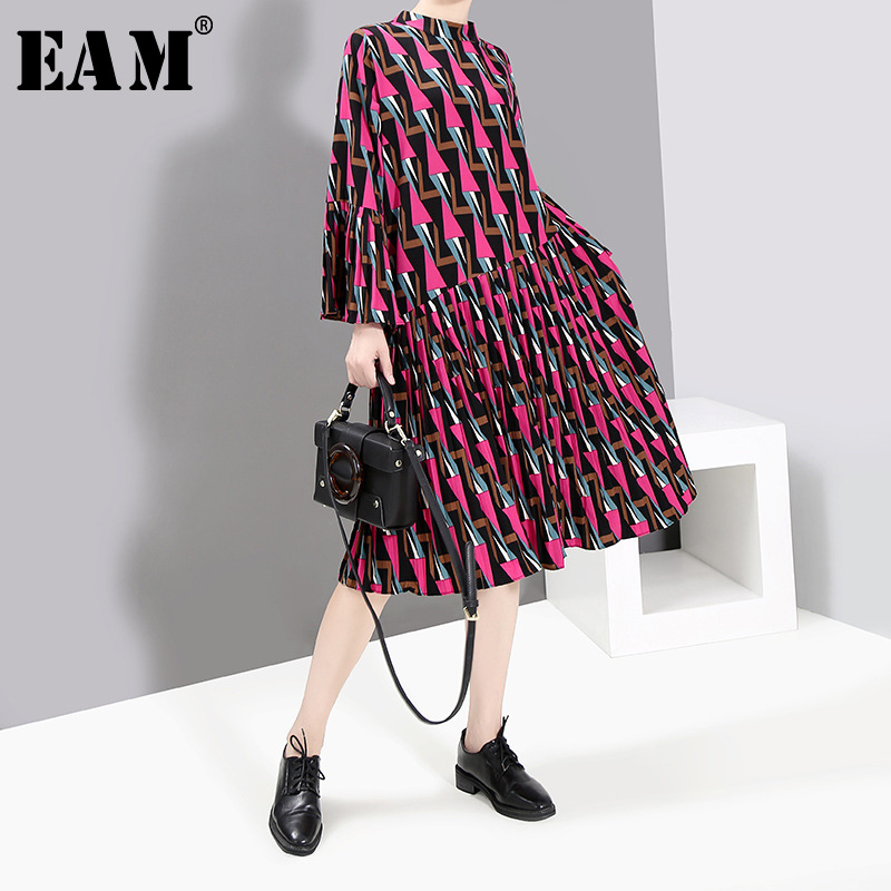 [EAM] Women Pattern Printed Pleated Midi Dress New Stand Collar Long Flare Sleeve Loose Fit Fashion Spring Autumn 2020 1T440