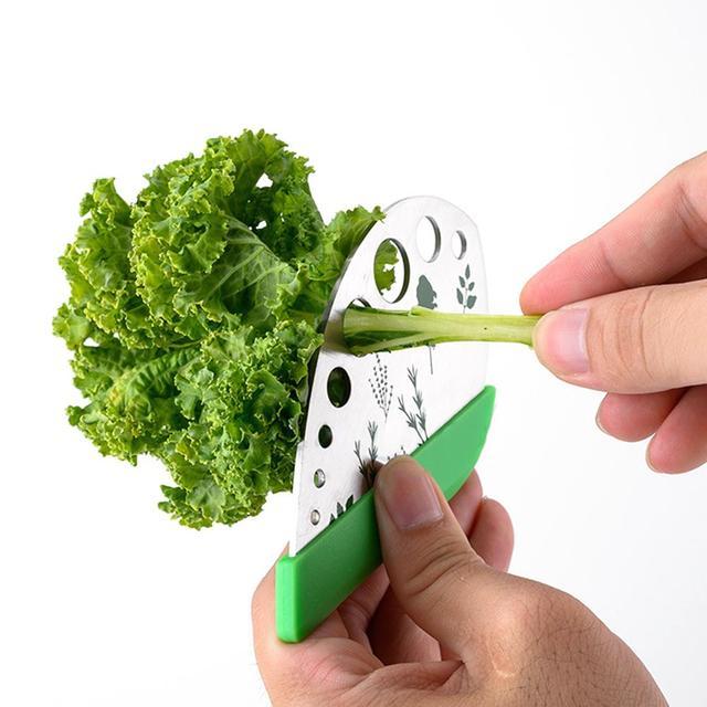 1PC Kale Chard Collard Greens Herb Stripper Stainless Steel Vegetable Leaf Remover Kitchen Peeling Tool Leaf Separator Looseleaf