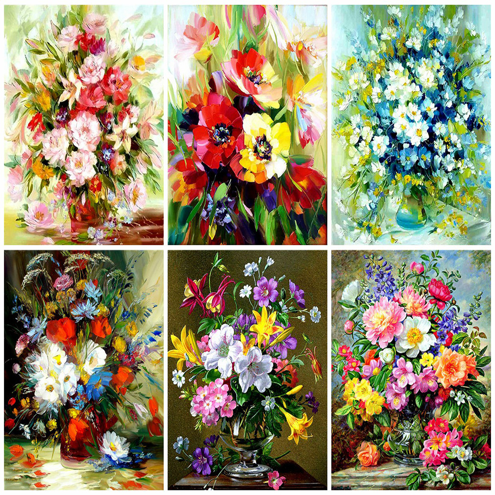 HUACAN Picture By Numbers Kits Flower Dawing On Canvas HandPainted Painting Art Gift DIY Home Decoration