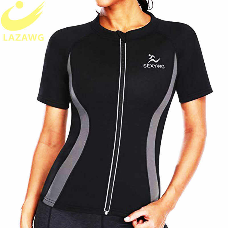 LAZAWG Vrouwen Hot Neopreen Vest Afslanken Zweet Top Korte Mouwen Workout Thermo Top Sauna Zweet Shirt Fat Burn Tops Gewicht verlies