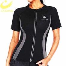 LAZAWG Women Hot Neoprene Vest Slimming Sweat Top Short Sleeve Workout Thermo Sauna Shirt Fat Burn Tops Weight Loss