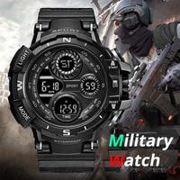Relojes digitales militares para niños, cronómetro deportivo con alarma, luz de LED NEGRO, 50M, resistente al agua, luminoso, para estudiantes y adolescentes, regalo