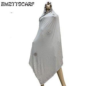 Image 5 - 100% Sciarpa di Cotone Morbido KASHKHA Sciarpa per gli Afro Donne Musulmane Dubai Pregate Grandi Scialli con strass BM828