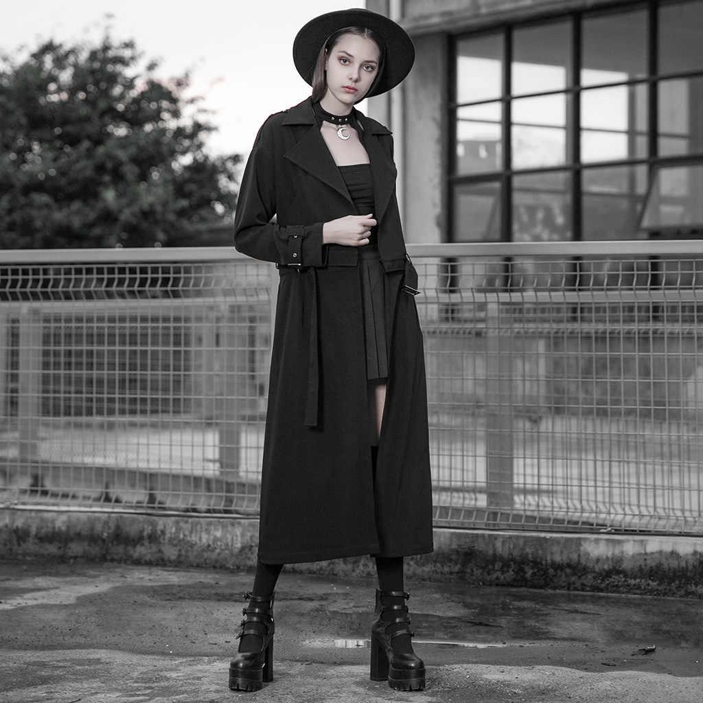 פאנק רווה נשים סופר ארוך להסרה מעיל סקסי V צוואר קרדיגן ארוך שרוול ארוך תעלת מעיל