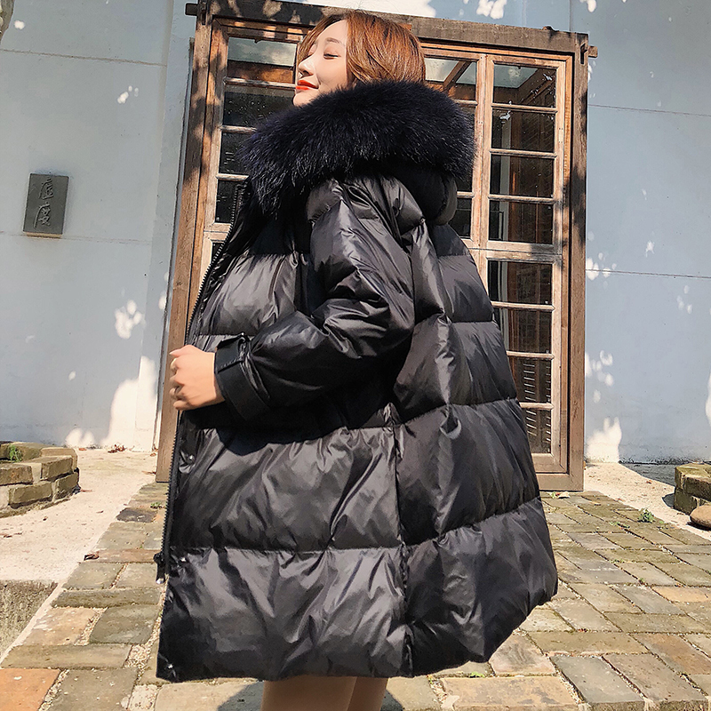Black Casual   Down     Coat   Trends Women's 2019 Winter Hooded Warm   Down   Jacket   Coats   With Real Fur Female Padded Thicken   Coats
