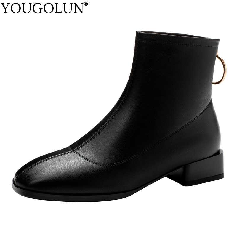 Chính hãng Bò Ủng Da Cá Nữ Thu Đông Thấp Gót Giày A315 Người Phụ Nữ Thời Trang Nữ Nâu Đen Vuông Mũi Mắt Cá Chân giày