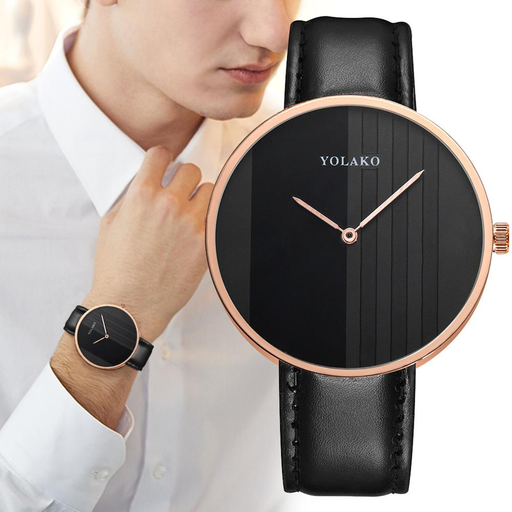 YOLAKO Watches Men's Casual Sport Quartz Leather Band New Strap Watch Analog Wrist Watch Reloj Mujer Montre Femme 2019 Dropship