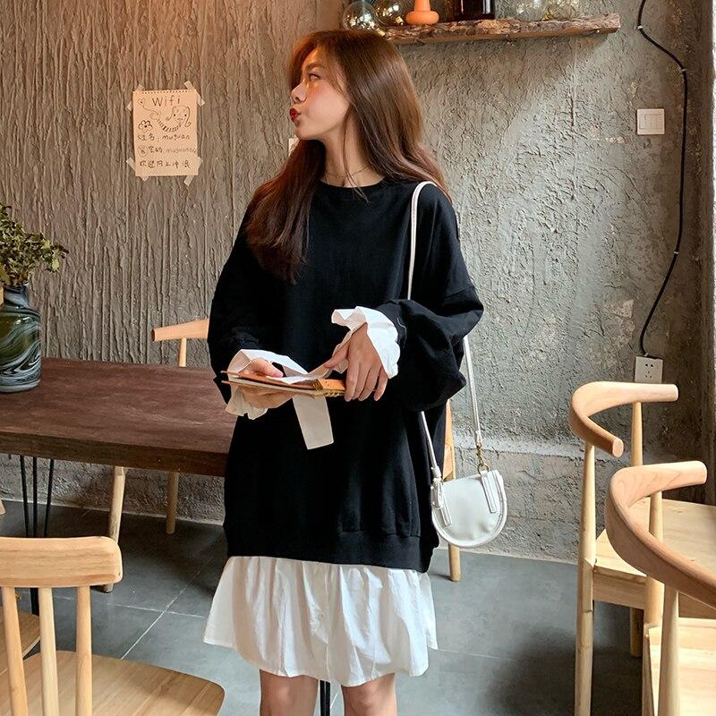 L-4XL grande taille Femmes décontracté Sweat Robe Automne 2019 Streetwear Mode À Manches Longues Patchwork Volants Robes de Coton